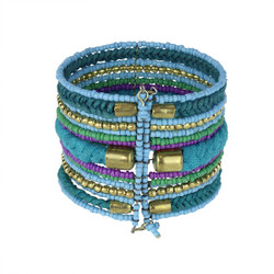 Bohemian Braided and Beaded Wrist Cuff Blue and Purple