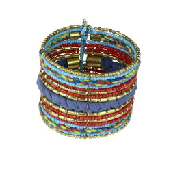 Bohemian Braided and Beaded Wrist Cuff Blue and Rust
