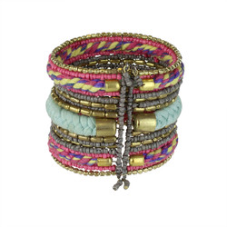 Bohemian Braided and Beaded Wrist Cuff Pink and Pale Blue