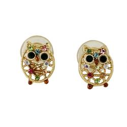 Little Crystal Owl Stud Earrings