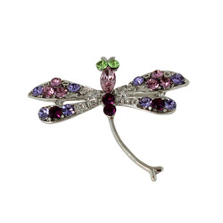 Sparkling Purple Dragonfly Brooch or Pendant with Crystals