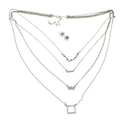 Four Layer Crystal Embellished Necklace Silver
