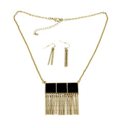 Metal Fringe Necklace and Earrings Set Onyx