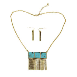 Metal Fringe Necklace and Earrings Set Turquoise