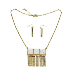 Metal Fringe Necklace and Earrings Set White Howlite
