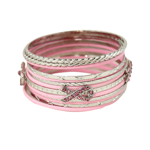 Pink Ribbon Bangle Bracelets Set