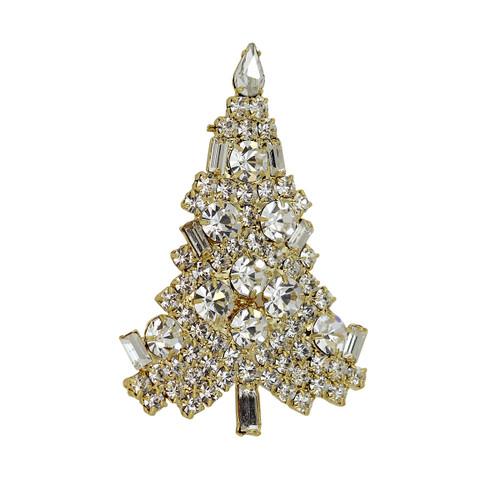 Sparkling Christmas Tree Brooch Gold