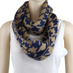 Soft Knit Houndstooth Infinity Scarf Navy Blue