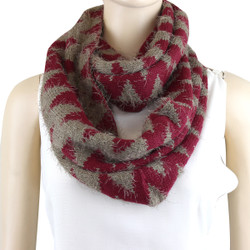 Oh So Soft Chevron Infinity Scarf Burgundy and Beige
