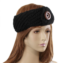 Woven Headband with Wooden Button Detail Black