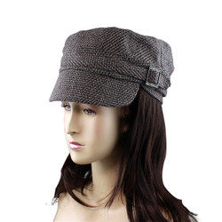 Houndstooth Print Revolutionary Cap with Jeweled Buckle Detail Brown