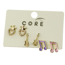 Heart of Royalty, Electric Guitar, and Musical Notes Earrings Studs Gold