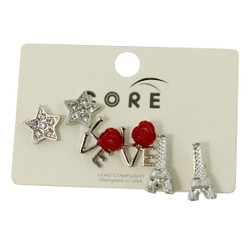 Glittering Stars, Rosy Love, and Eiffel Towers Earrings Studs Silver