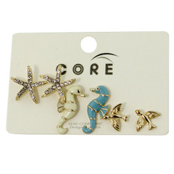 Under and Above the Sea Earrings Studs Gold