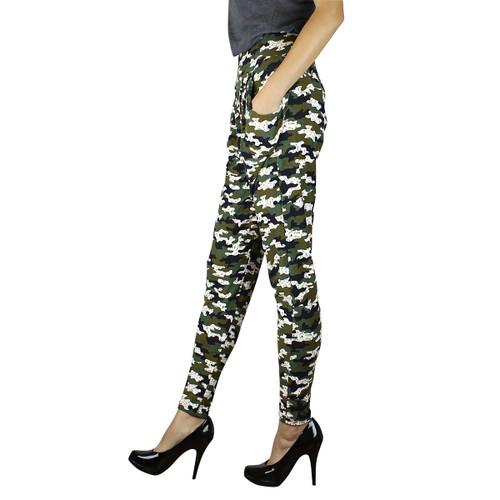 Harem Pants with Pockets Camo Print