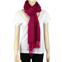 Giant Soft Wrap Scarf Solid Color with Tassel Hot Pink