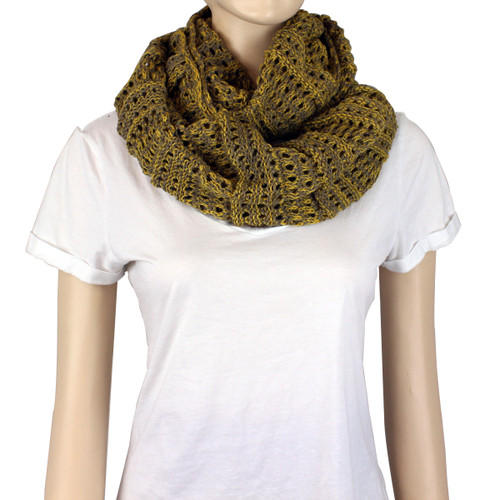 Two Tone Infinity Knitted Scarf Mustard