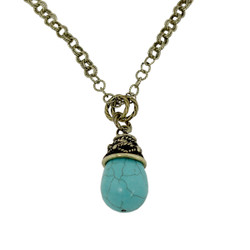 Tribal Teardrop Necklace Turquoise Blue Antique Gold