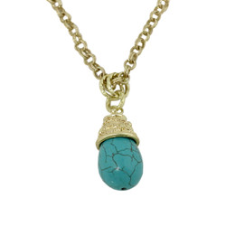 Tribal Teardrop Necklace Turquoise Blue Gold