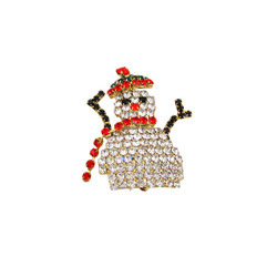 Snowman Pin Crystal Accented