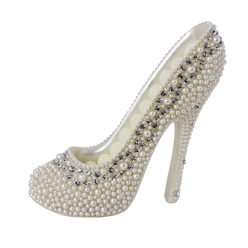 Pearl Crystal Shoe Ring Holder White