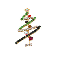 Sparkling Christmas Tree Pin Brooch Bejeweled