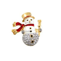 Snowman Pin Pendant Bejeweled
