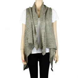 Draping Knitted Scarf Vest Layered Beige