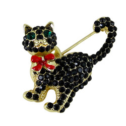 Black Cat Brooch with Jeweled Eyes