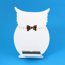 Owl Cell Phone Holder Wood Stand White
