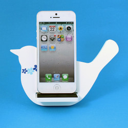 Bird Cell Phone Holder Wood Stand White
