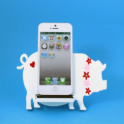 Pig Cell Phone Holder Wood Stand White