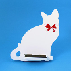 Cat Cell Phone Holder Wood Stand White