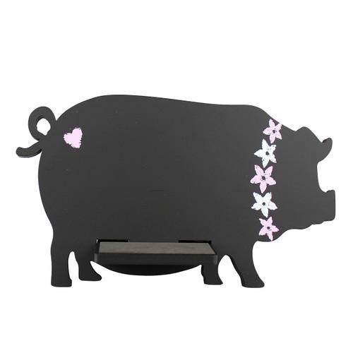 Pig Tablet / iPad Holder Wood Stand Black
