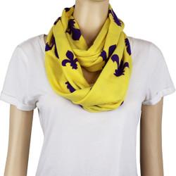 Fleur De Lis Jersey Knit Infinity Scarf Yellow
