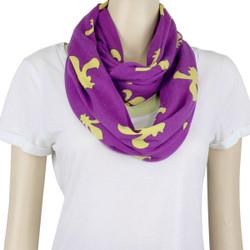 Fleur De Lis Jersey Knit Infinity Scarf Purple