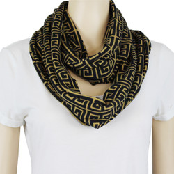 Tribal Pattern Jersey Knit Infinity Scarf Brown