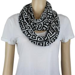 Tribal Pattern Jersey Knit Infinity Scarf Black