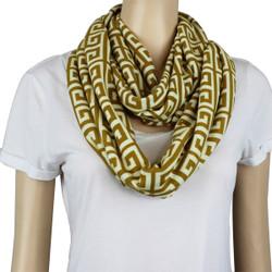 Tribal Pattern Jersey Knit Infinity Scarf Yellow
