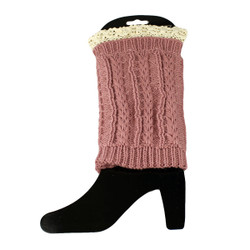 Knit Boot Cuff Topper Liner Leg Warmer With Lace Trim  Twist Pattern Pink