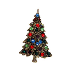 Antique Looking Gold & Crystals Christmas Tree Brooch