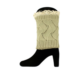 Knit Boot Cuff Topper Liner Leg Warmer With Lace Trim  Wave Pattern Beige
