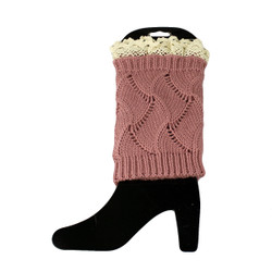 Knit Boot Cuff Topper Liner Leg Warmer With Lace Trim  Wave Pattern Pink