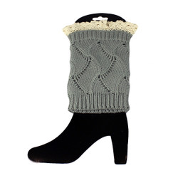 Knit Boot Cuff Topper Liner Leg Warmer With Lace Trim  Wave Pattern Grey