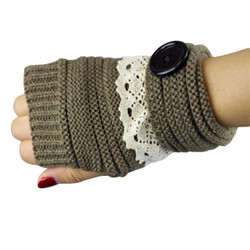 Knit Button Fingerless Gloves With Lace Trim Brown