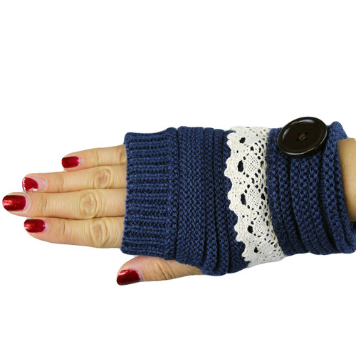 Knit Button Fingerless Gloves With Lace Trim Navy