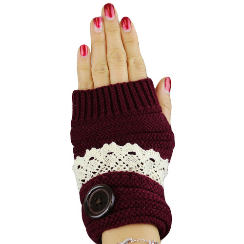 Knit Button Fingerless Gloves With Lace Trim Burgundy