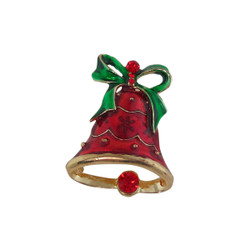 Beautiful Red Holiday Bell Brooch