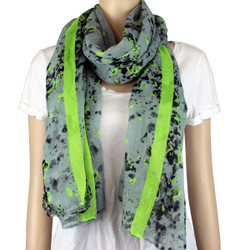 Watercolor Large Scarf Neon Color Green