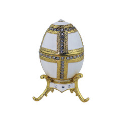 White Egg Trinket Box with Gold Stand Bejeweled